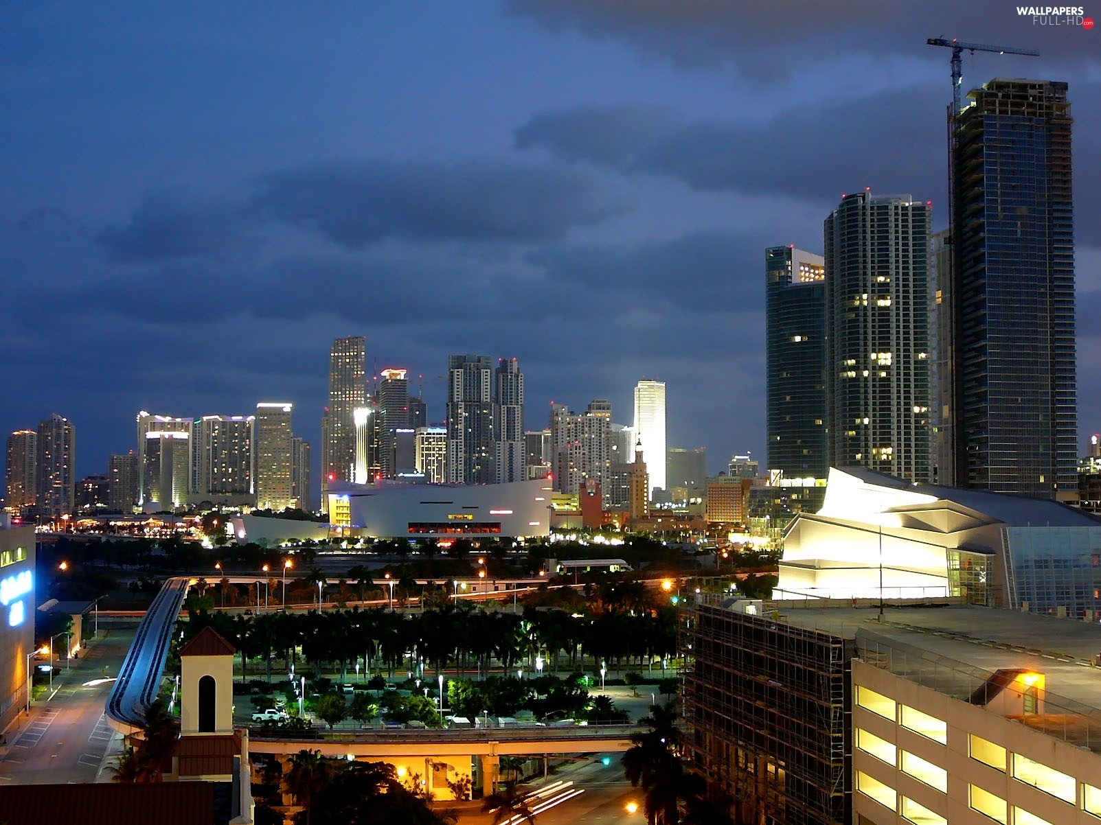 Town, twilight, Floryda, Miami