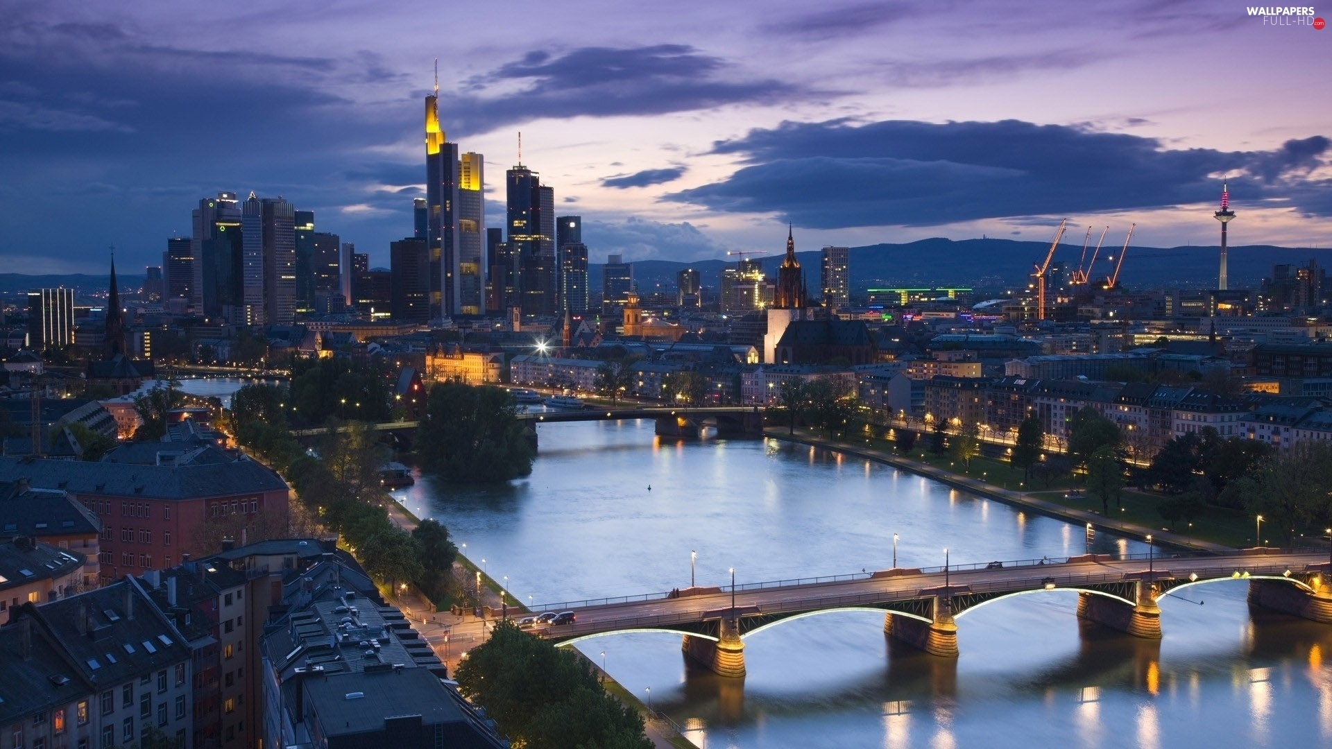 Town, River, Frankfurt, bridge