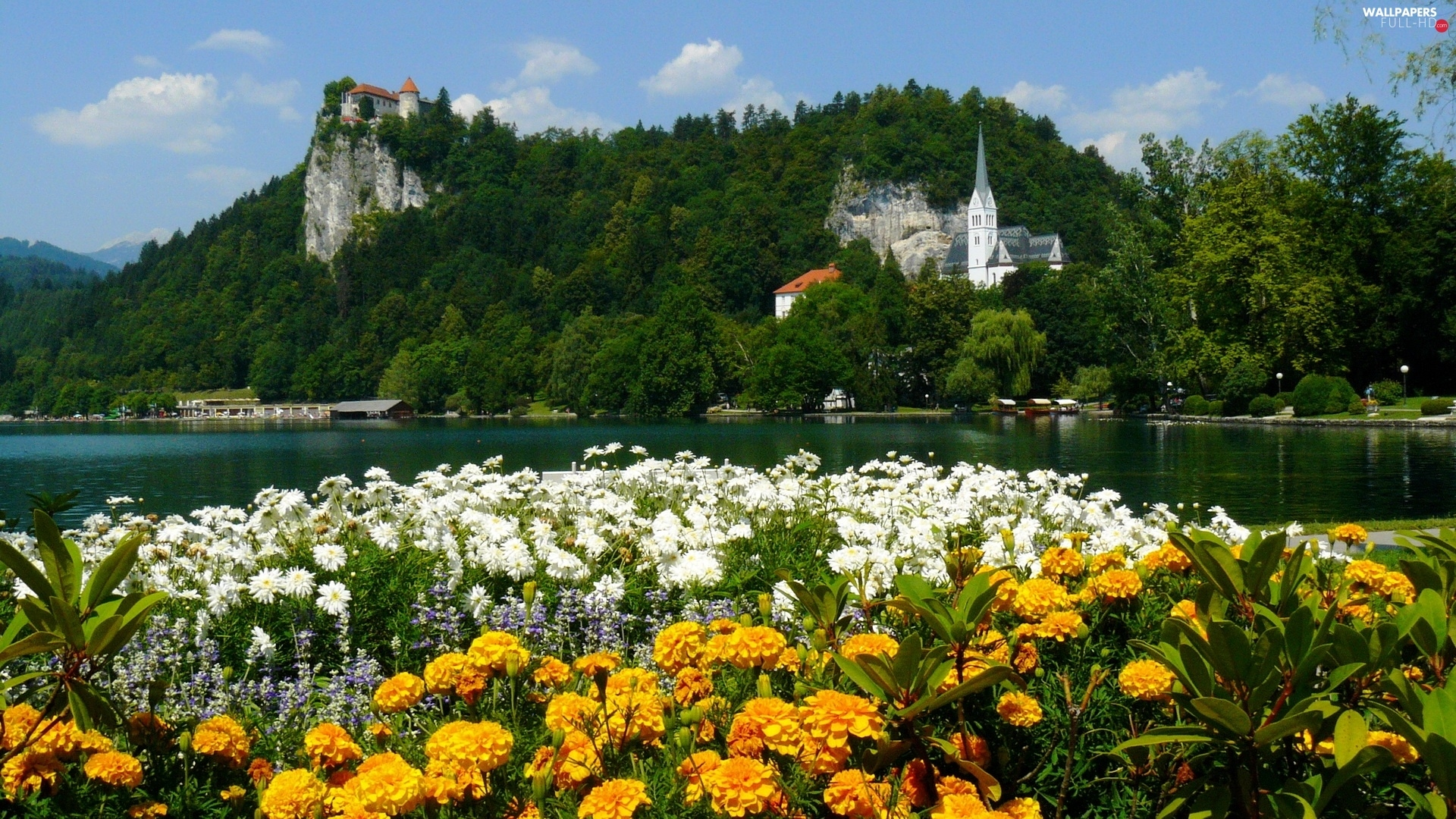 trees, Flowers, River, viewes, Castles