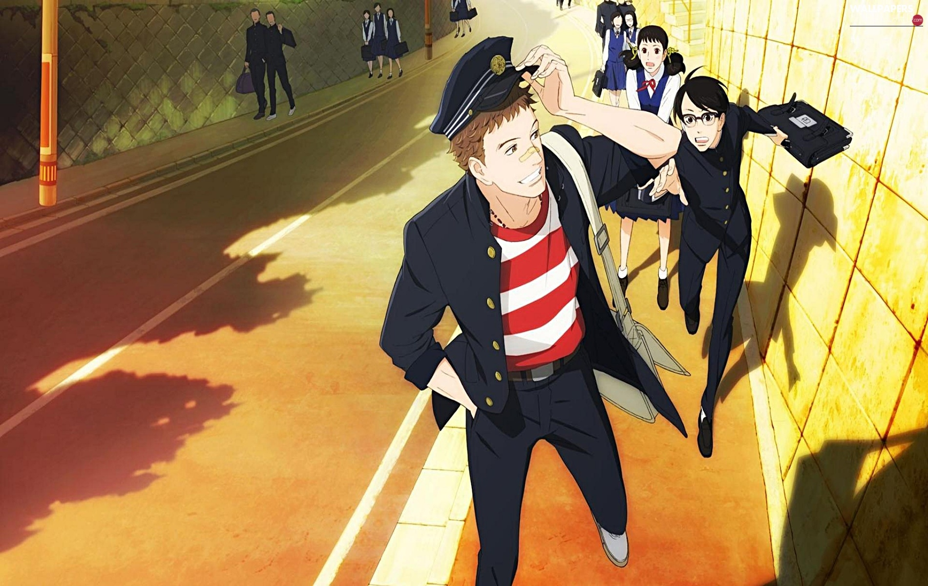 Street, uniform, Sakamichi no Apollon, Anime, boy