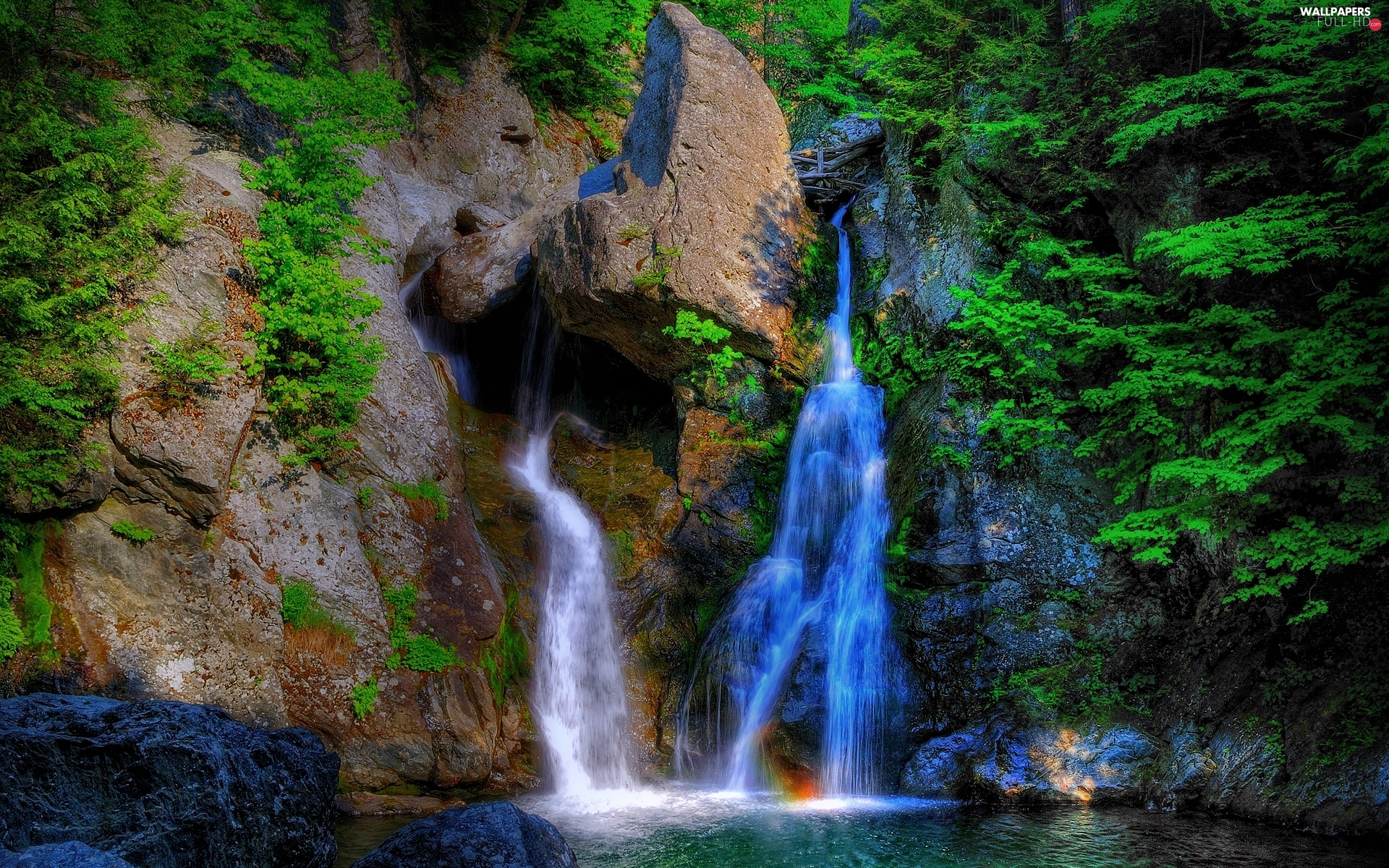 rocks, VEGETATION, waterfall