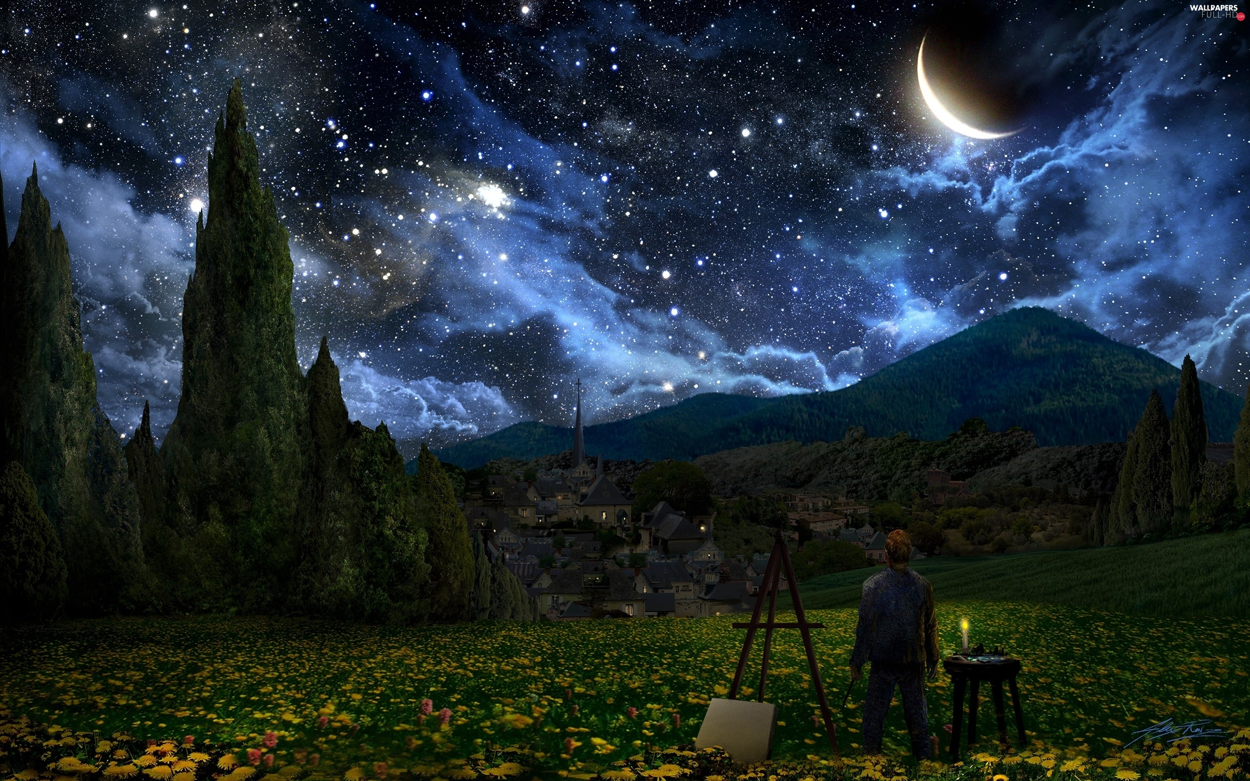 Gogh, Vincent, picture, moon, van, trees, viewes