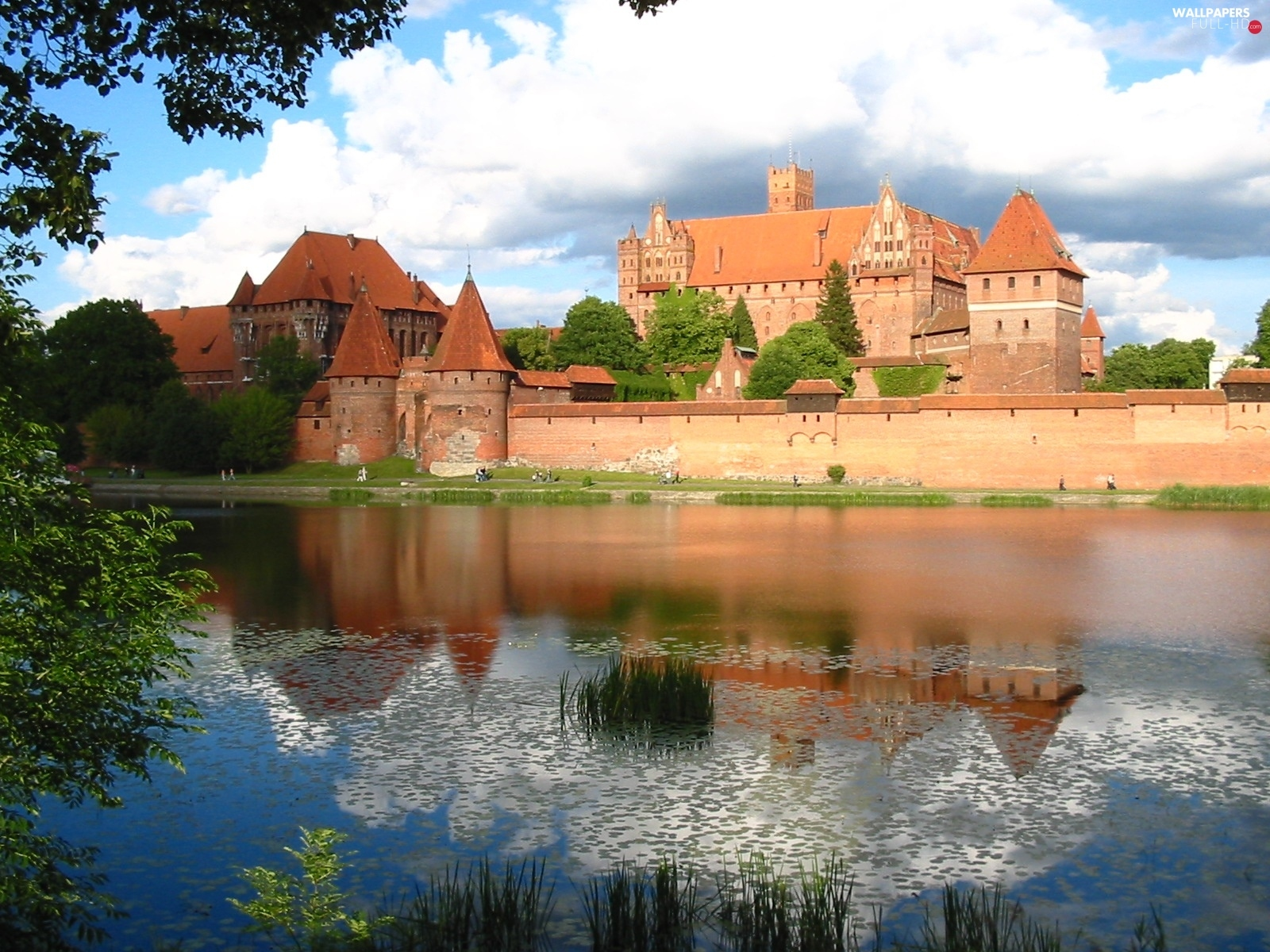 Castle, water, Malbork