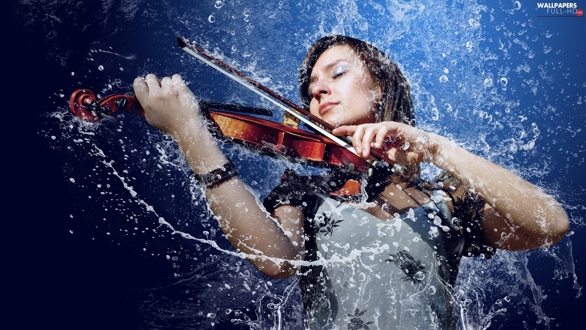 Fiddle, water, girl