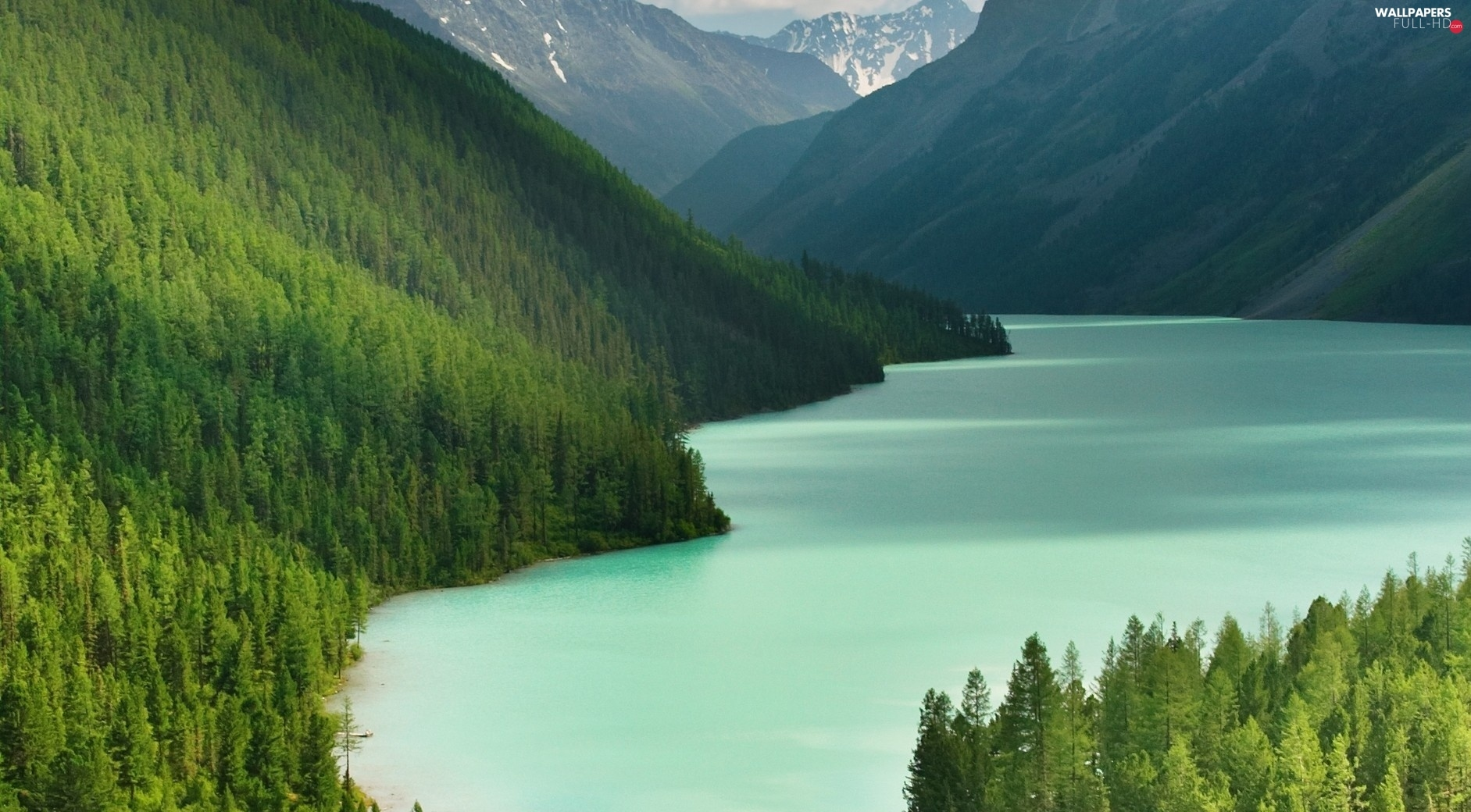 water, viewes, Mountains, trees