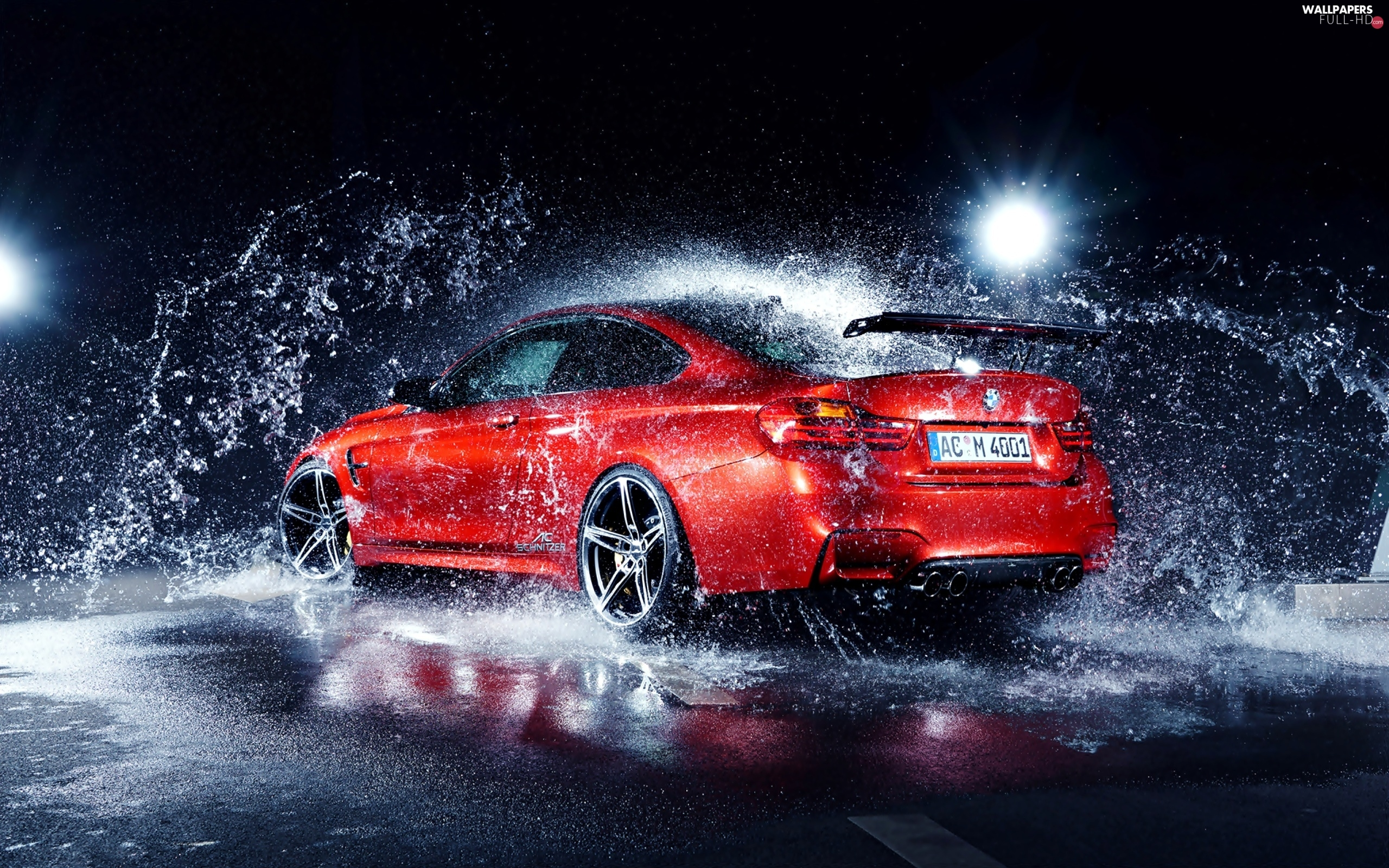 Splash, water, M4, Red, drops, Automobile, BMW