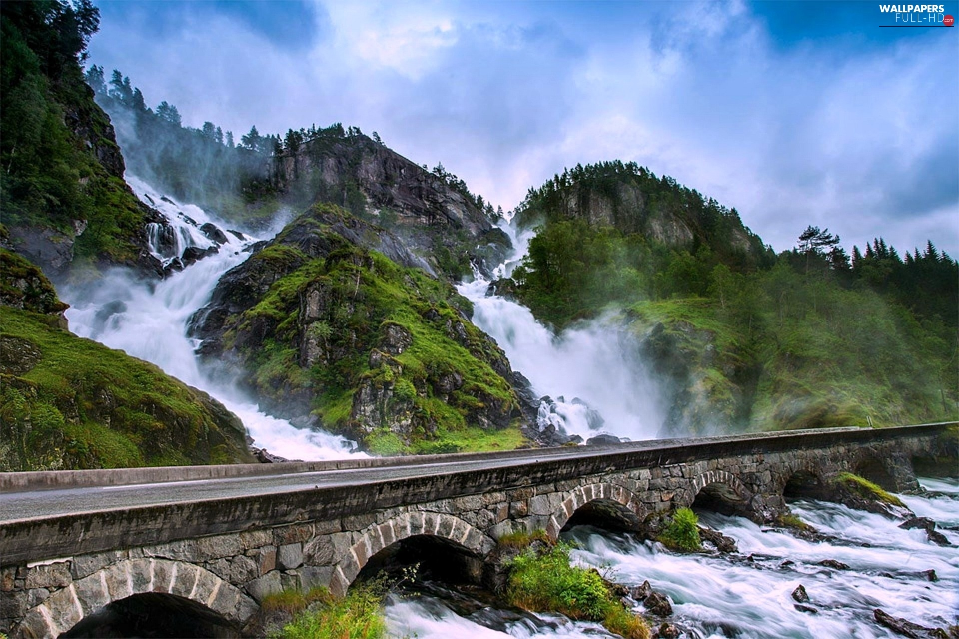 Way, Latefossen, River, Norway, bridge, waterfall