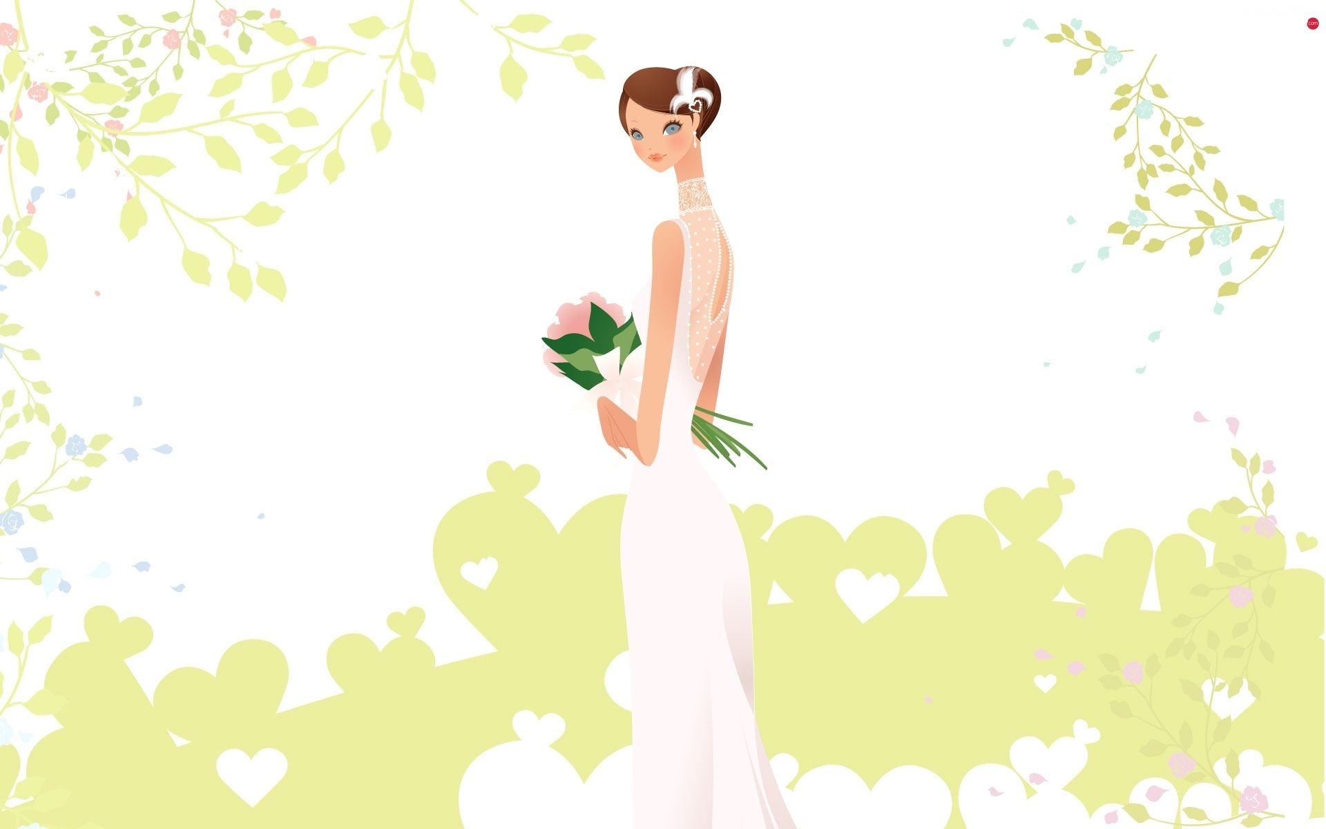 wedded, bouquet, lady, young