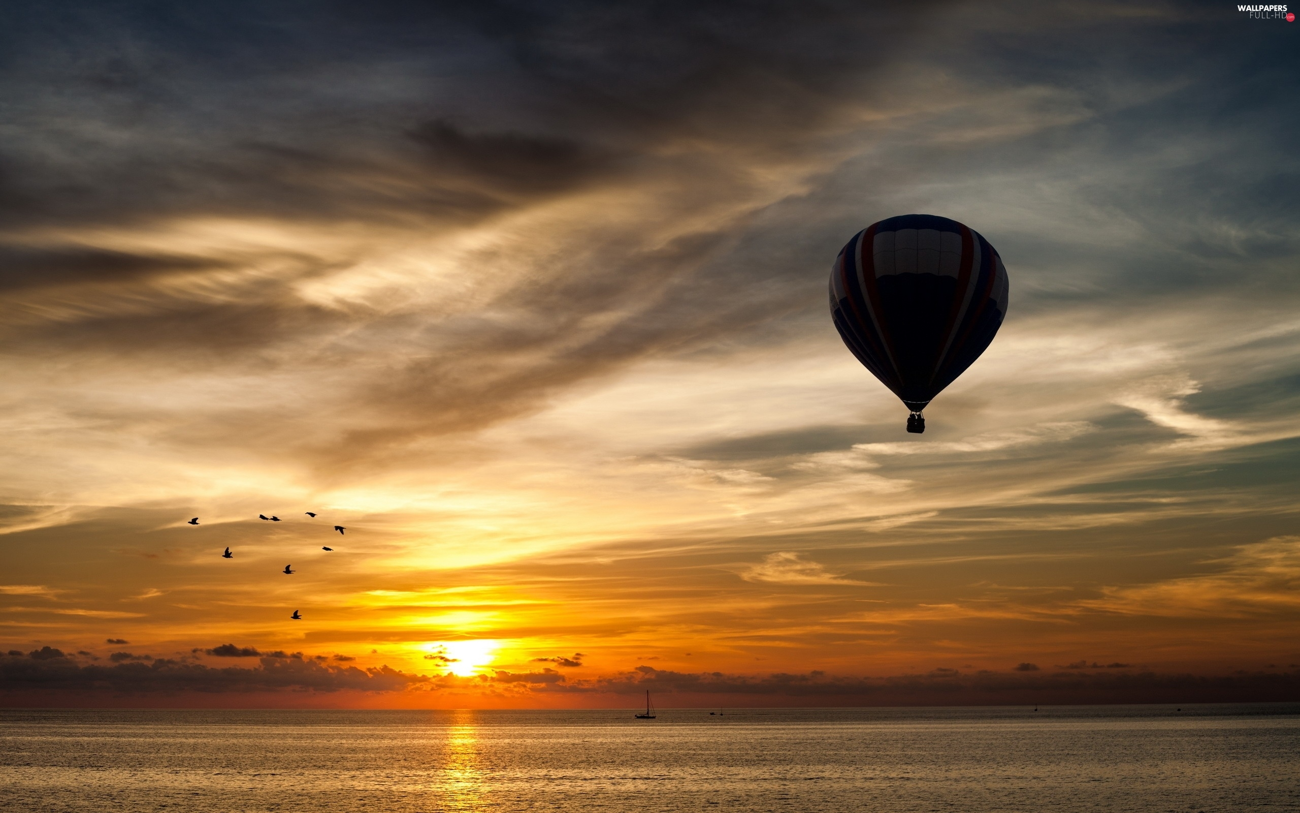 west, Boats, clouds, Balloon, sun, sea