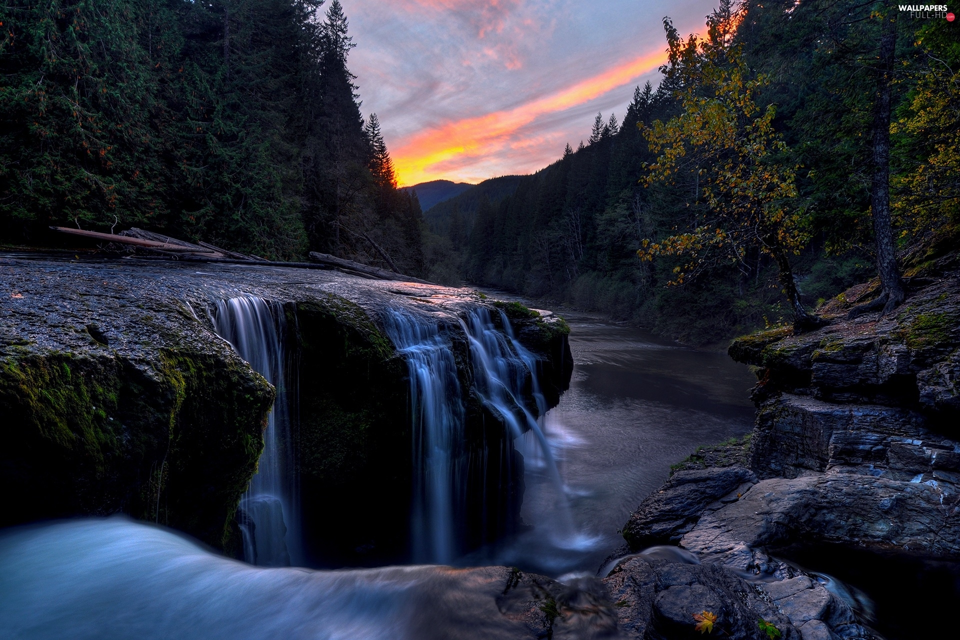 west, rocks, forest, River, sun, waterfall