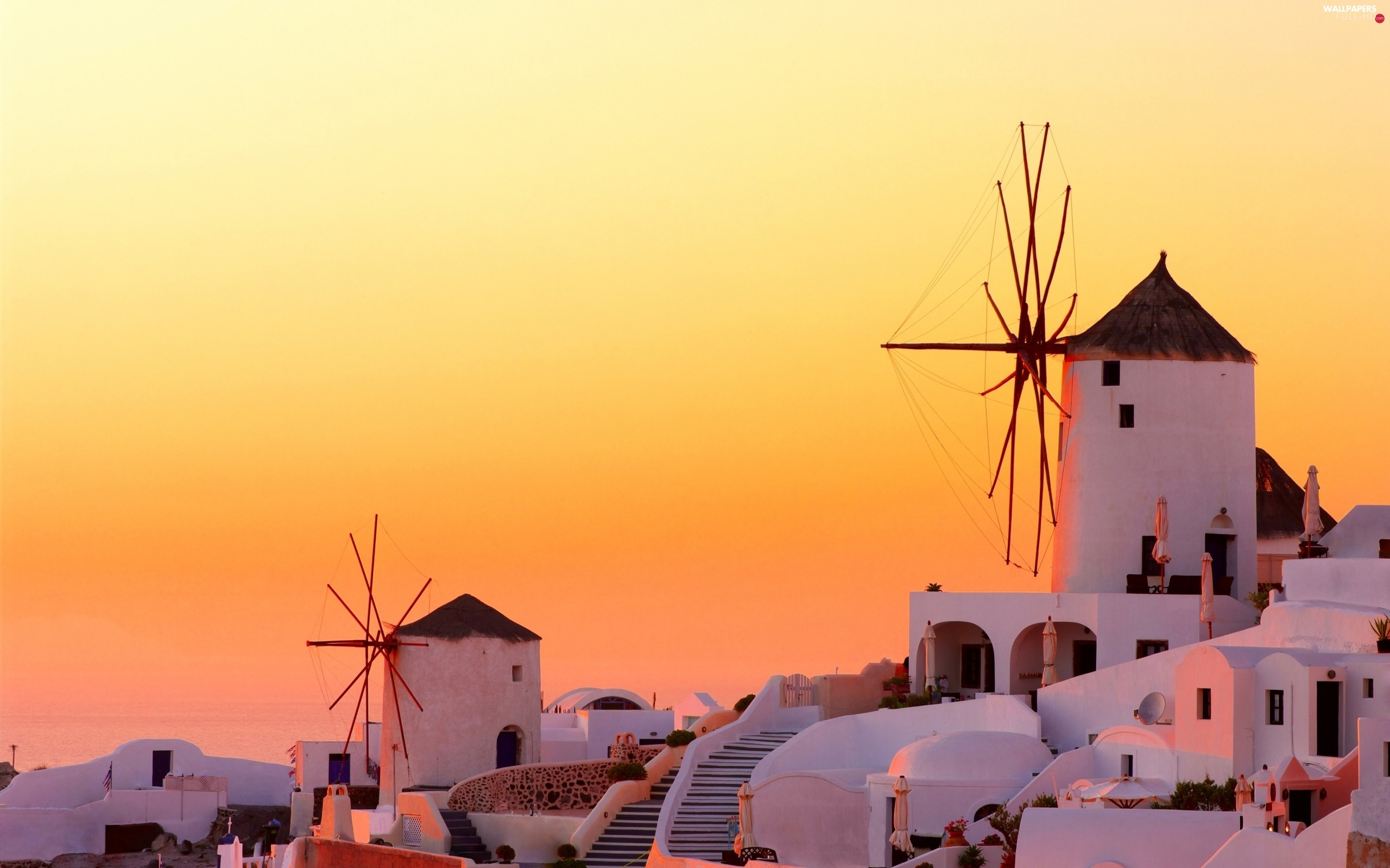 west, santorini, Greece, Windmills, sun, Houses