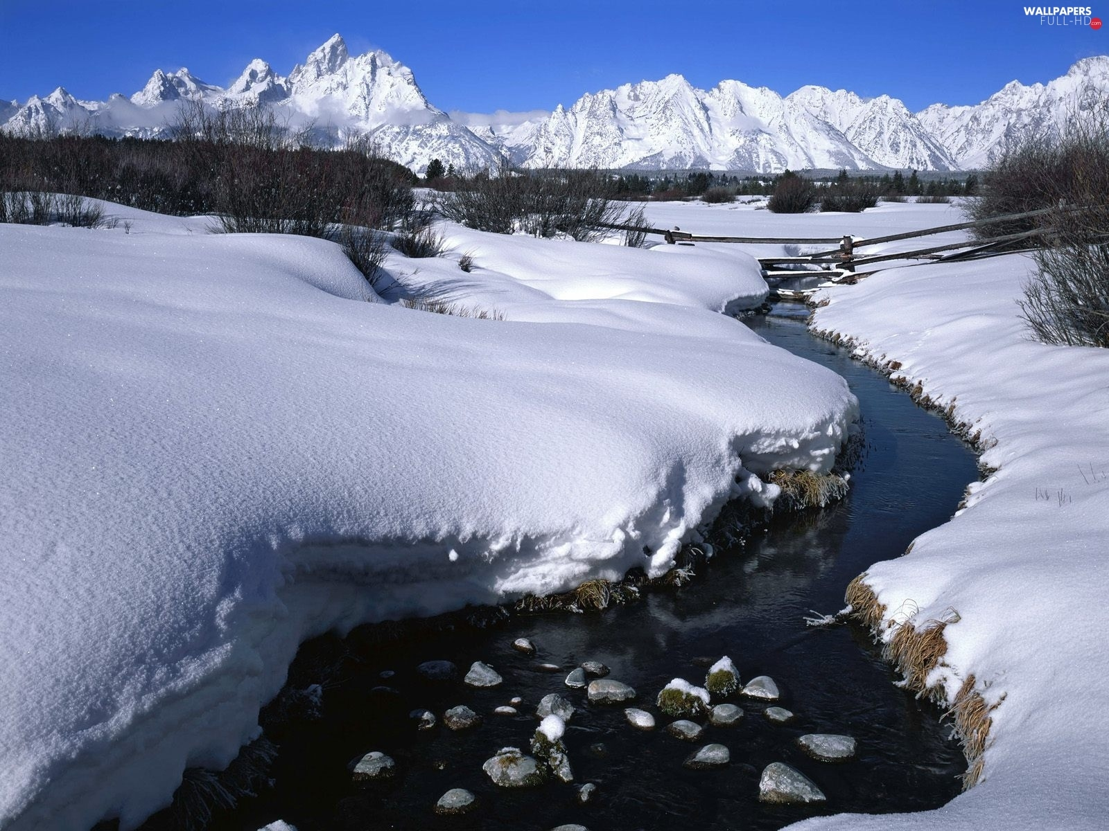 brook, winter, Mountains