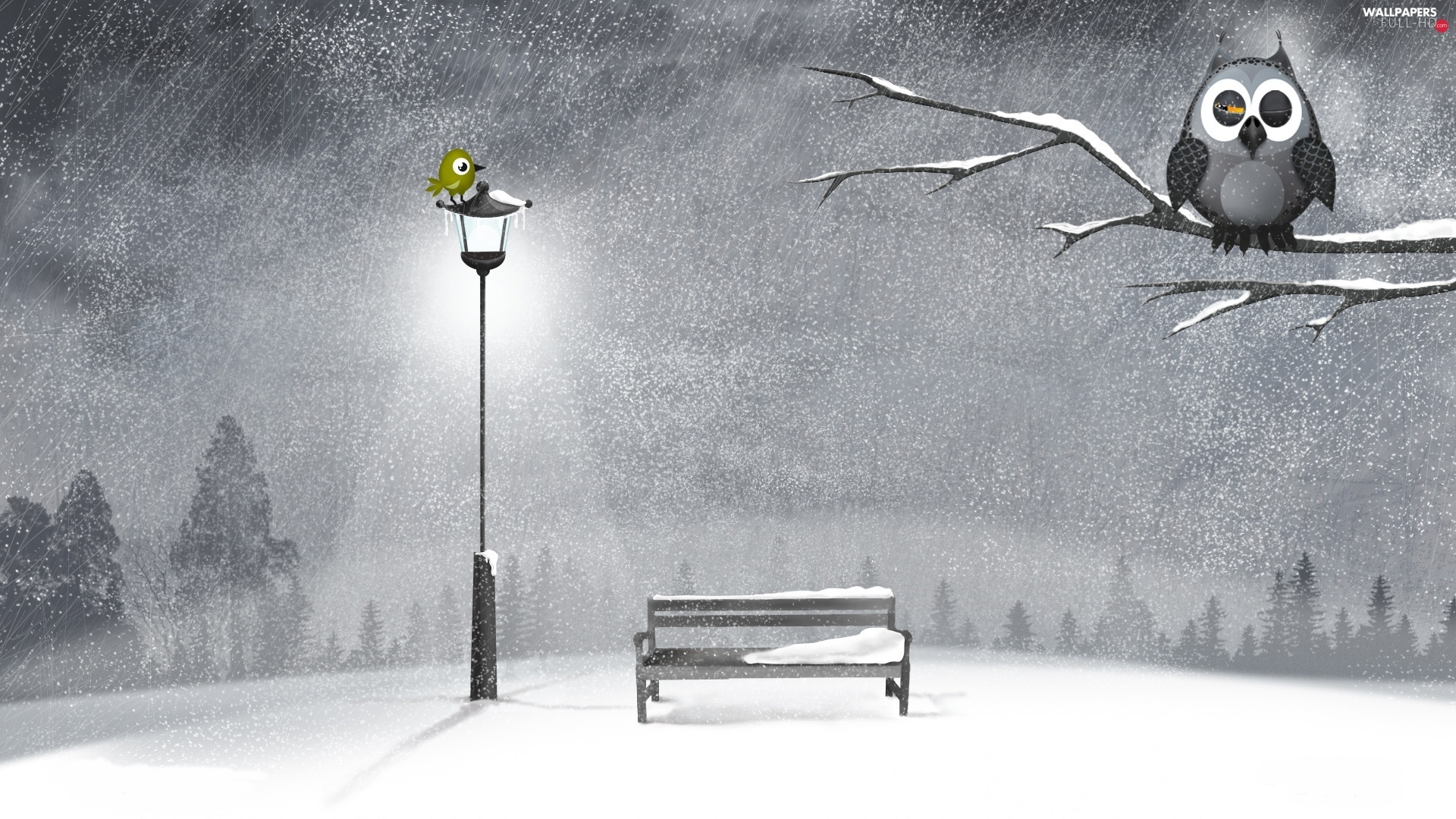 winter, Bench, owl, graphics, Lighthouse