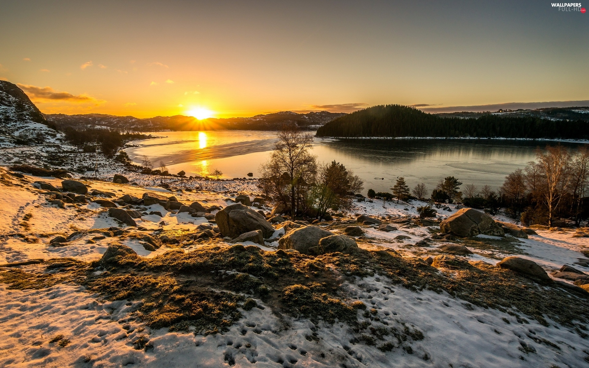 winter, sun, River, The setting