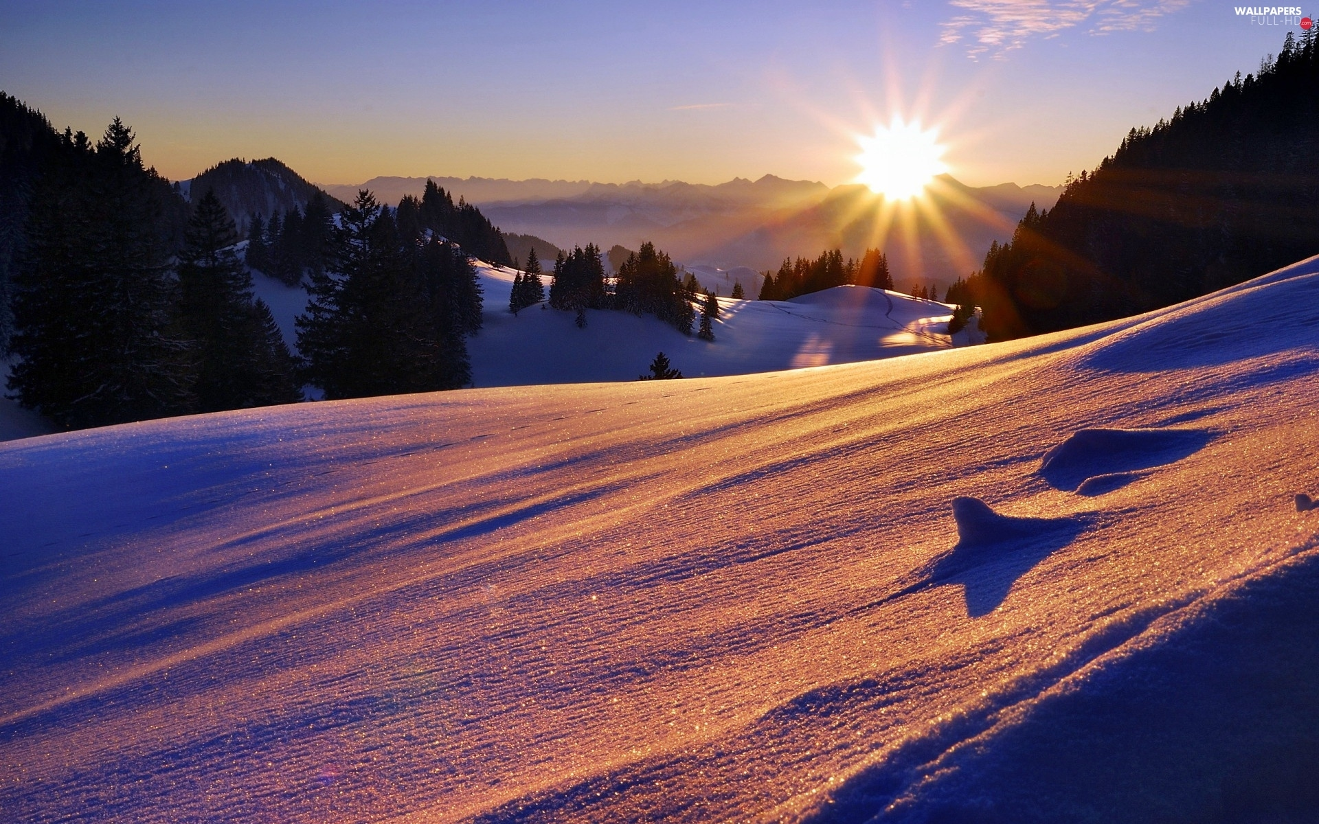 winter, Mountains, west, sun