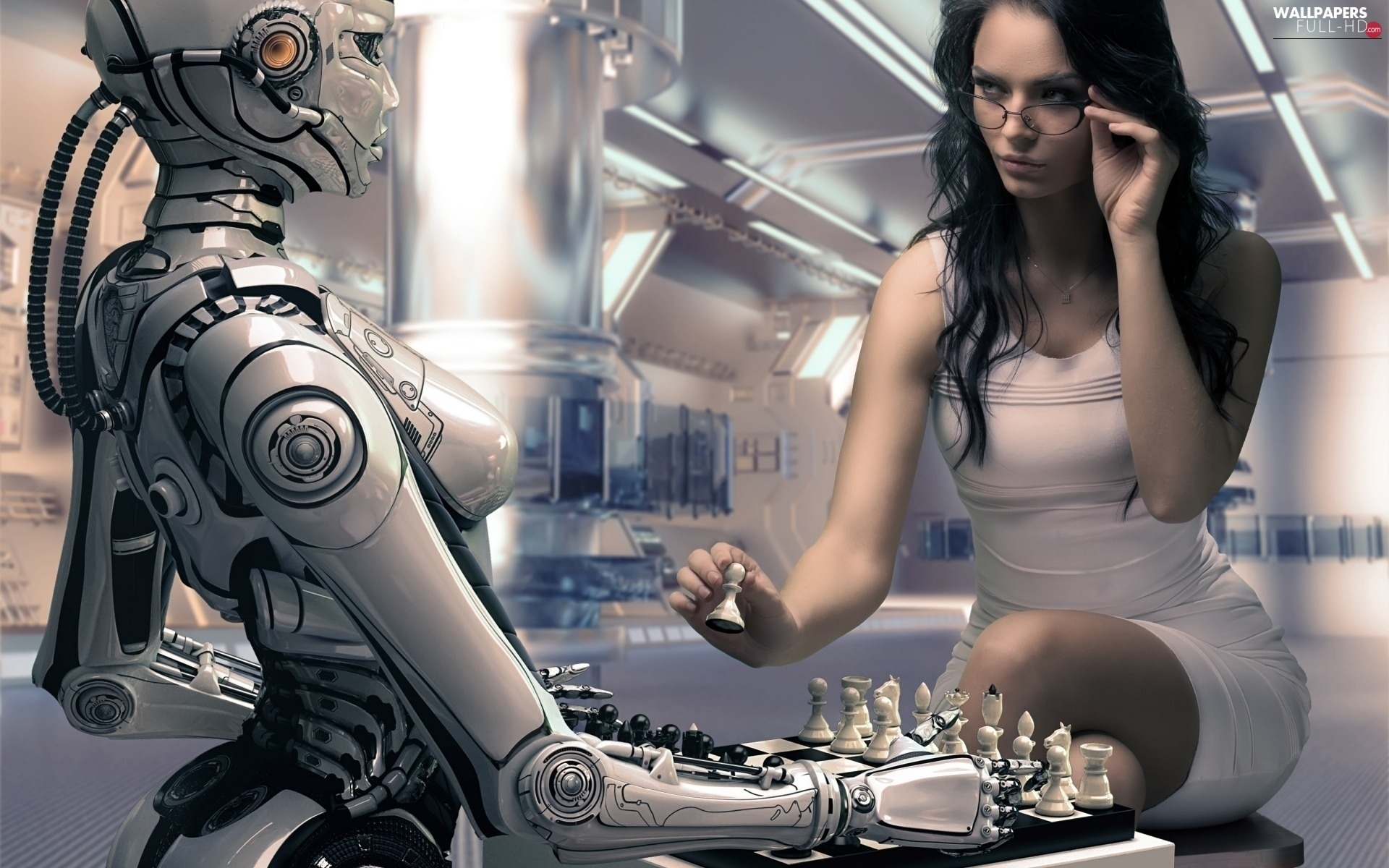 Women, black-, Robot, chess